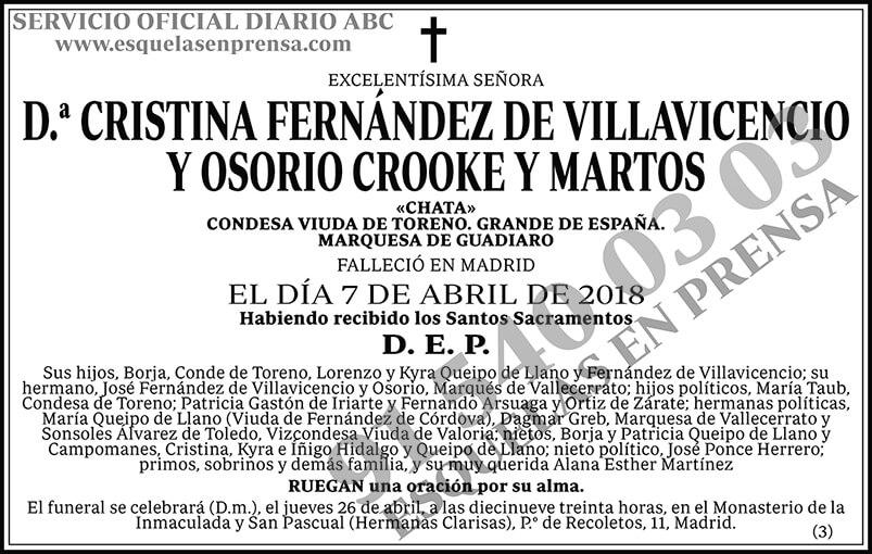 Cristina Fernández de Villavicencio y Osorio Crooke y Martos